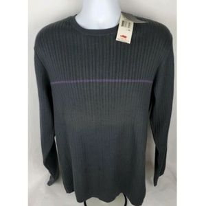 Kenneth Cole Gray Striped Pullover Sweater